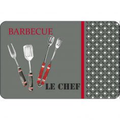 BBQ Opague Placemat - Red & Charcoal