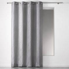 Scintille Faux Silk Eyelet Curtain Panel with Glitter - Grey