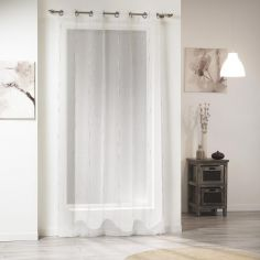 Siane Eyelet Voile Curtain Panel with Woven Effect - Ivory