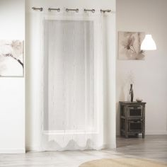 Siane Eyelet Voile Curtain Panel with Woven Effect - White