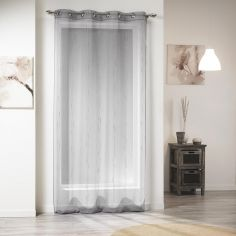 Siane Eyelet Voile Curtain Panel with Woven Effect - Grey