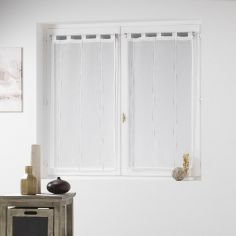 Siane Woven Effect Voile Blind Pair with Tab Top - Ivory