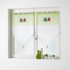 Chouettia Voile Tab Top Blind Pair with Tassels and Owl Print - Lime Green