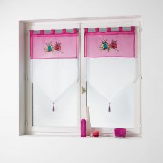 Chouettia Voile Tab Top Blind Pair with Tassels and Owl Print - Fuchsia Pink