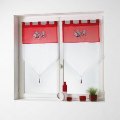 Chouettia Voile Tab Top Blind Pair with Tassels and Owl Print - Red