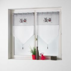 Chouettia Voile Tab Top Blind Pair with Tassels and Owl Print - Silver Grey