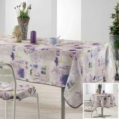 Lavender Floral Printed Tablecloth - Purple