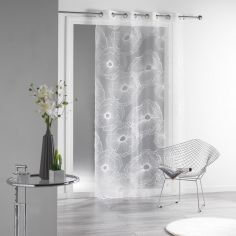Solia Burnout Organza Eyelet Voile Curtain Panel - White