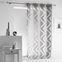 Zappy Wavy Striped Eyelet Voile Curtain Panel - Silver Grey