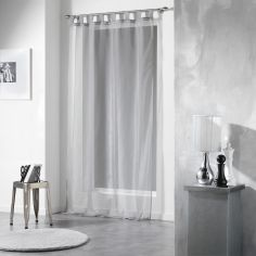 Voiline Plain Voile Curtain Panel with Tab Top - Grey