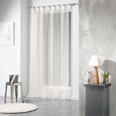 Voiline Plain Voile Curtain Panel with Tab Top - Ivory