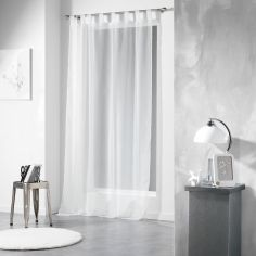 Voiline Plain Voile Curtain Panel with Tab Top - White