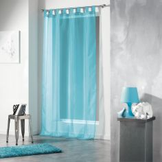 Voiline Plain Voile Curtain Panel with Tab Top - Blue