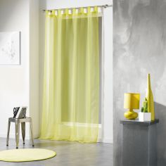 Voiline Plain Voile Curtain Panel with Tab Top - Lime Green
