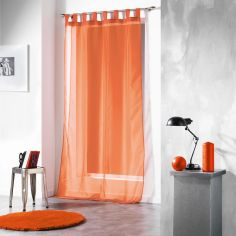 Voiline Plain Voile Curtain Panel with Tab Top - Orange