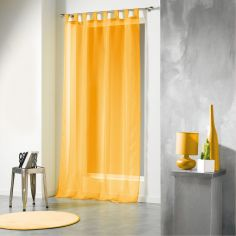 Voiline Plain Voile Curtain Panel with Tab Top - Yellow