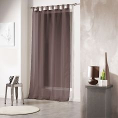 Voiline Plain Voile Curtain Panel with Tab Top - Brown