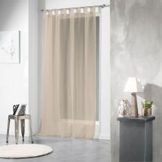 Voiline Plain Voile Curtain Panel with Tab Top - Beige