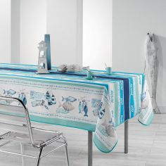 Oleron Printed Tablecloth - Blue & Natural