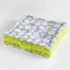 Kaleida Printed Cotton Floor Chair Booster Cushion - Lime Green & Blue