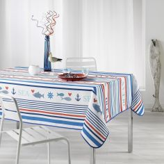 Mariniere Printed Tablecloth - Blue & Red
