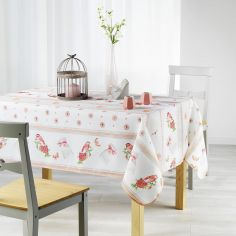 Adelina Birds Printed Tablecloth - Coral Orange