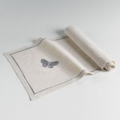 Opaline Embroidered Linen Look Table Runner - Grey