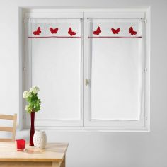 Opaline Slot Top Voile Blind Pair with Embroidered Top - Red