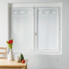 Opaline Slot Top Straight Voile Blind with Embroidered Top - White