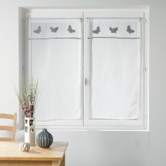 Opaline Slot Top Straight Voile Blind with Embroidered Top - Grey