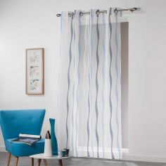 Vagueline Striped Voile Curtain Panel with Eyelet Top - White & Blue