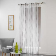 Vagueline Striped Voile Curtain Panel with Eyelet Top - White & Grey