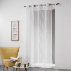 Vagueline Striped Voile Curtain Panel with Eyelet Top - White & Cream