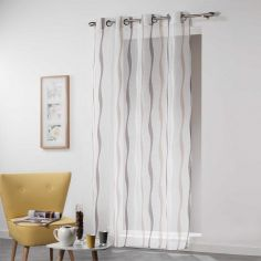 Vagueline Striped Voile Curtain Panel with Eyelet Top - White & Brown