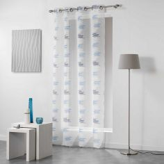 Tetrix Striped Eyelet Voile Curtain Panel - Blue
