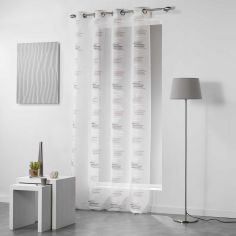 Tetrix Striped Eyelet Voile Curtain Panel - Grey