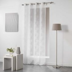Tetrix Striped Eyelet Voile Curtain Panel - Cream