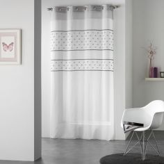Telmo Striped Dotty Eyelet Voile Curtain Panel - White & Grey