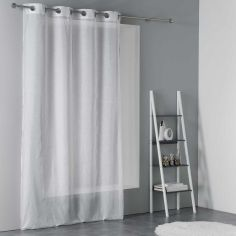 Terry Eyelet Voile Curtain Panel with Embroidered Glitter - White