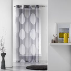 Tempo Eyelet Voile Curtain Panel with Circle Print - Grey