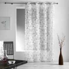 Tiempo Geometric Eyelet Voile Curtain Panel - White Grey