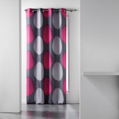 Tempo Eyelet Curtain Panel with Circle Print - Grey & Pink