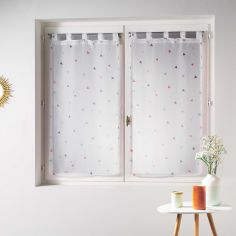 Trigone Straight Voile Blind Pair with Tab Top and Triangle Print  - Multi