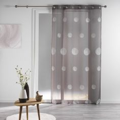 Tracy Embroidered Circles Eyelet Voile Curtain Panel - Charcoal Grey