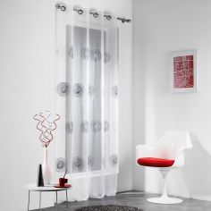 Tornado Embroidered Glitter Eyelet Voile Curtain Panel - White Silver