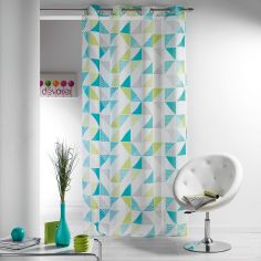 Triangles Printed Eyelet Voile Curtain Panel - Green Blue
