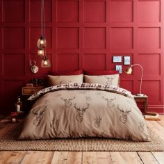 Catherine Lansfield Stag Red Check Duvet Cover Set