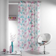 Triangles Printed Eyelet Voile Curtain Panel - Pink Blue