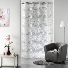 Floral Burnout Organza Voile Curtain Panel with Eyelet Top - White Grey