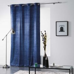 Verona Printed Velvet Curtain Panel with Eyelet Top - Blue